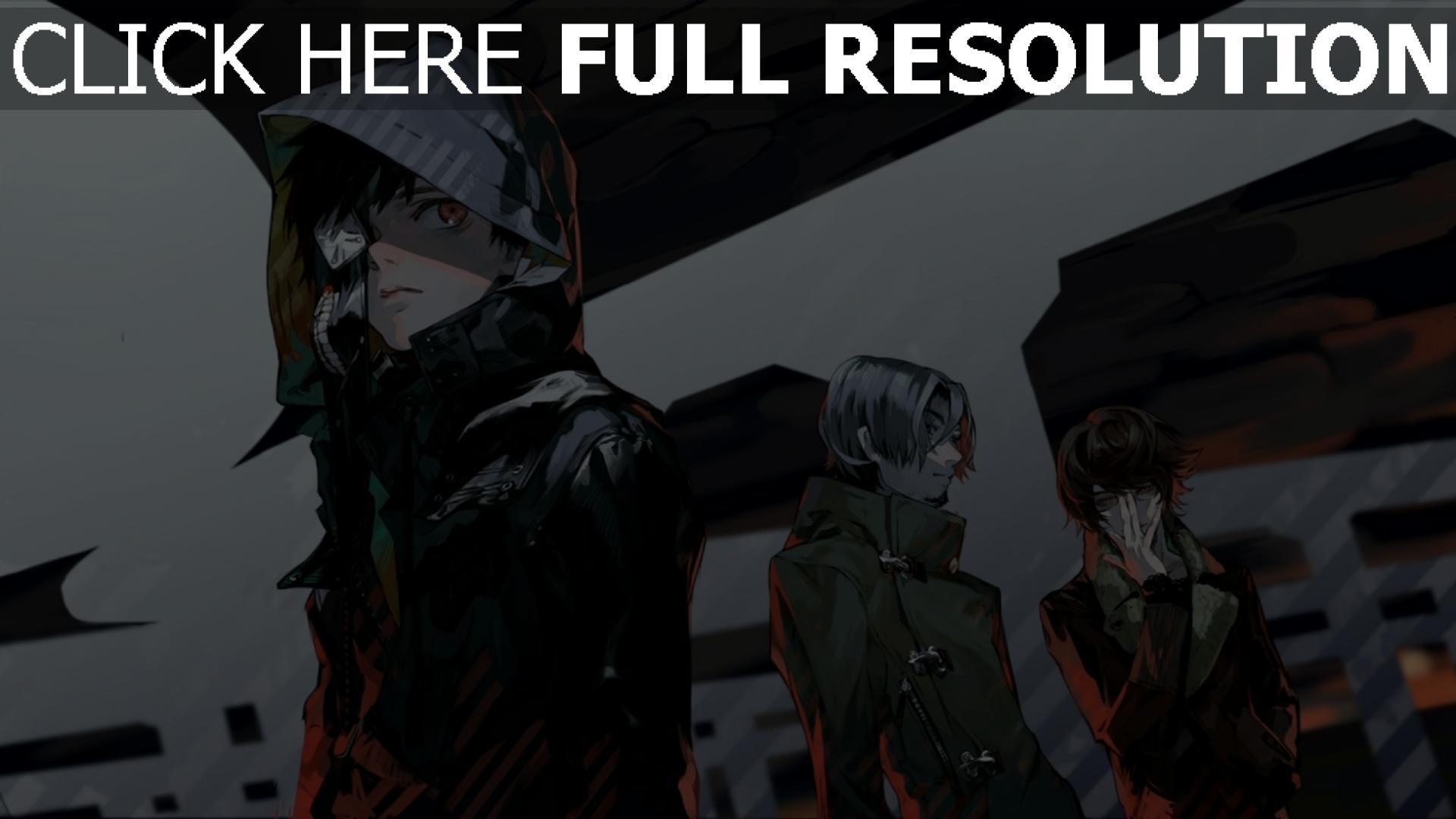hd hintergrundbilder tokyo ghoul kaneki lunge haube jacke schwarz 1920x1080