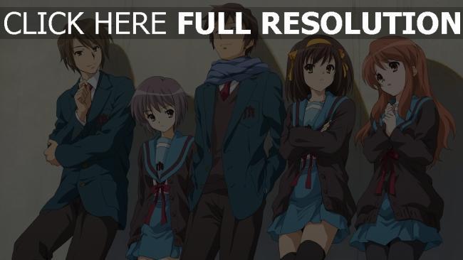 hd hintergrundbilder haruhi suzumiya charaktere jungen mädchen haruhi