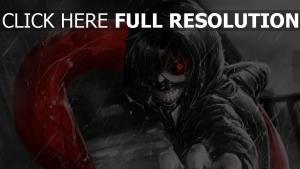 tokyo ghoul kaneki ken junge kapuze regen zähne