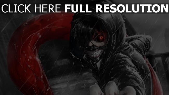 hd hintergrundbilder tokyo ghoul kaneki ken junge kapuze regen zähne