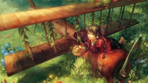 mädchen flugzeug frucht korb garten