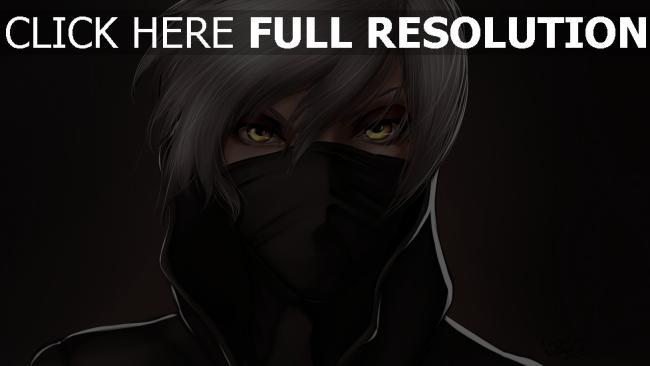 hd hintergrundbilder gesicht maske weiß haar gelb augen dunkel