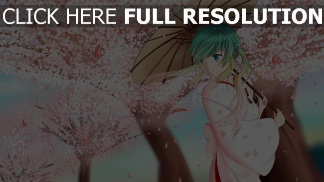 hd hintergrundbilder sakura regenschirm kimono vocaloid hatsune miku