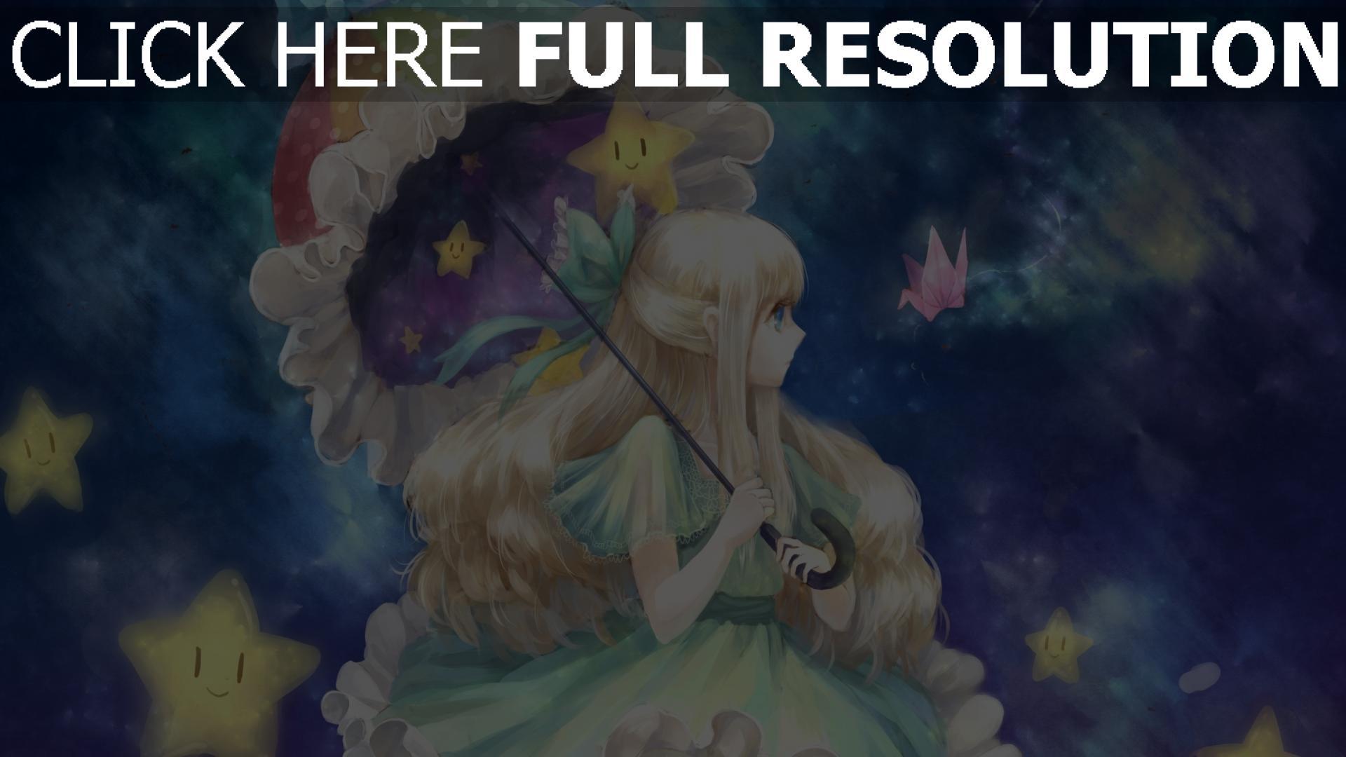 Hd hintergrundbilder m dchen regenschirm sterne art - Wallpaper anime hp ...