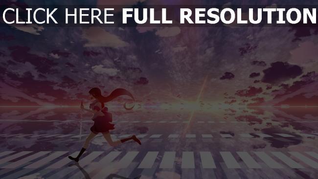 hd hintergrundbilder schülerin laufen himmel mädchen