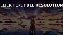 mädchen regen regenschirm meer art