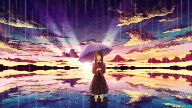 hd hintergrundbilder mädchen regen regenschirm meer art