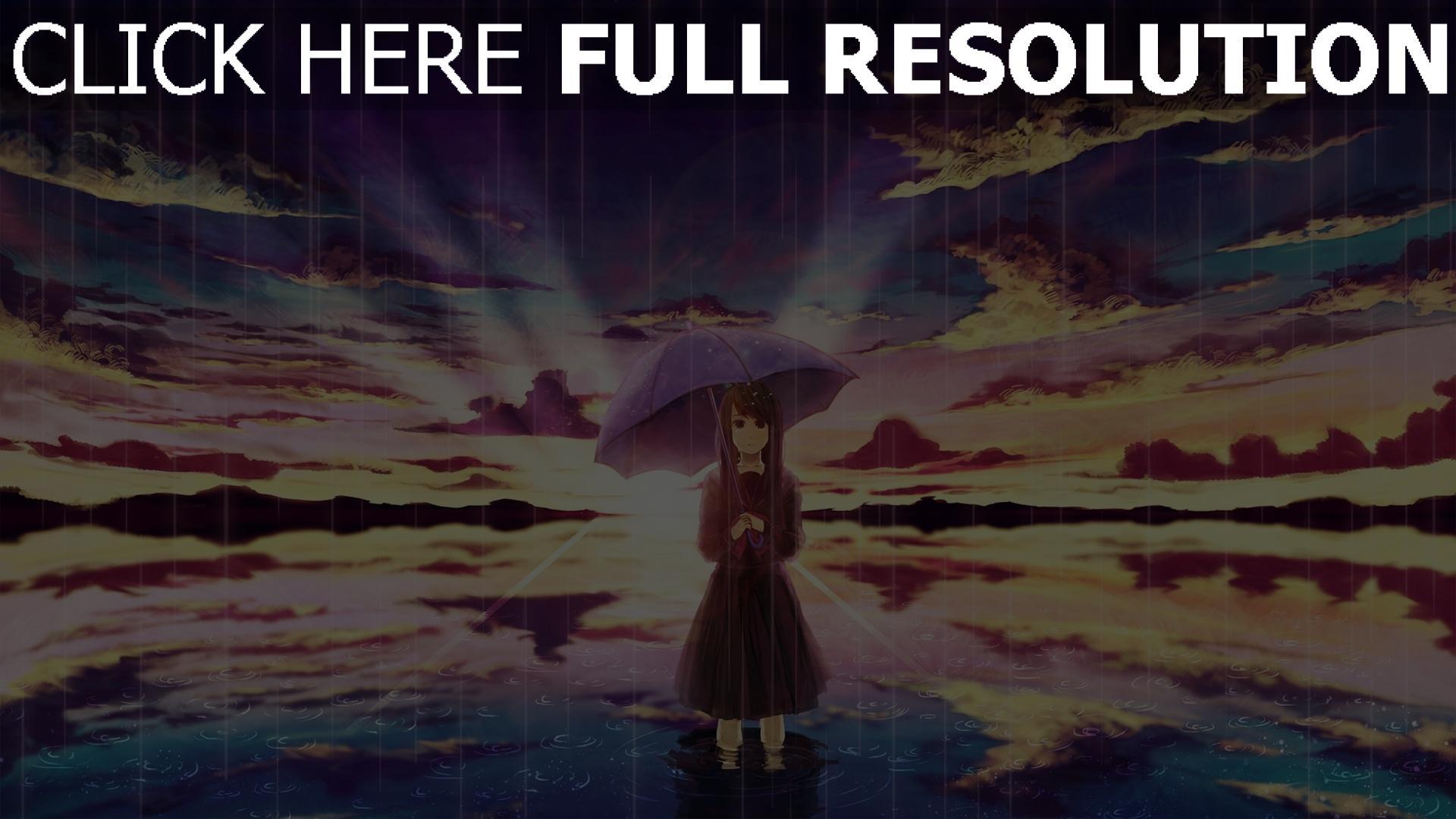 Hd Hintergrundbilder Mädchen Regen Regenschirm Meer Art Desktop