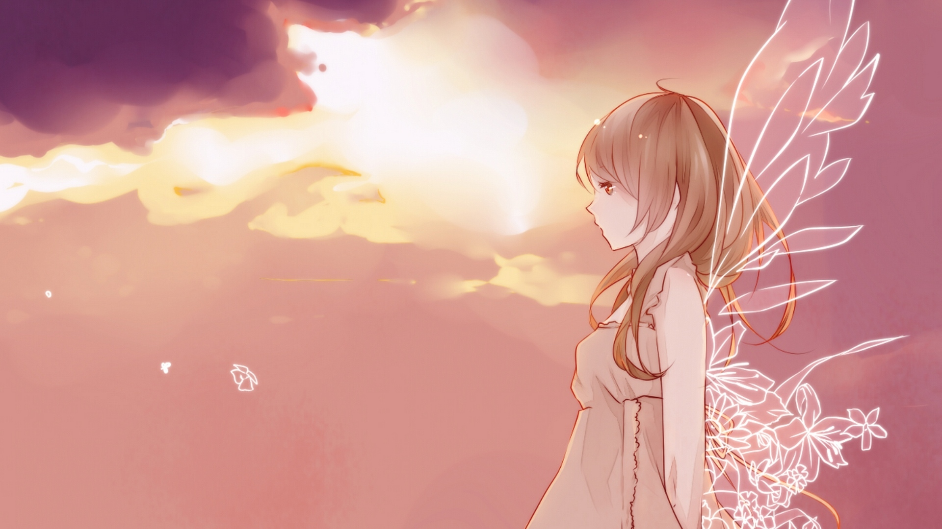 HD Hintergrundbilder sonnenuntergang himmel mädchen flügel