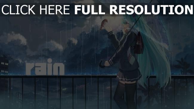 hd hintergrundbilder regen regenschirm vocaloid hatsune miku haraguro you