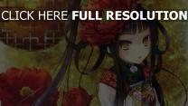 kimono mädchen blumen katagiri hinata