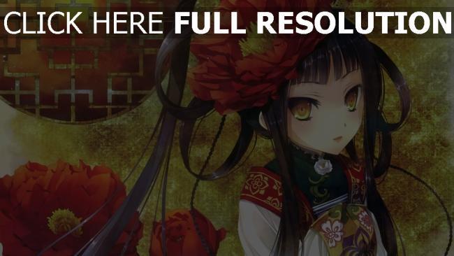 hd hintergrundbilder kimono mädchen blumen katagiri hinata