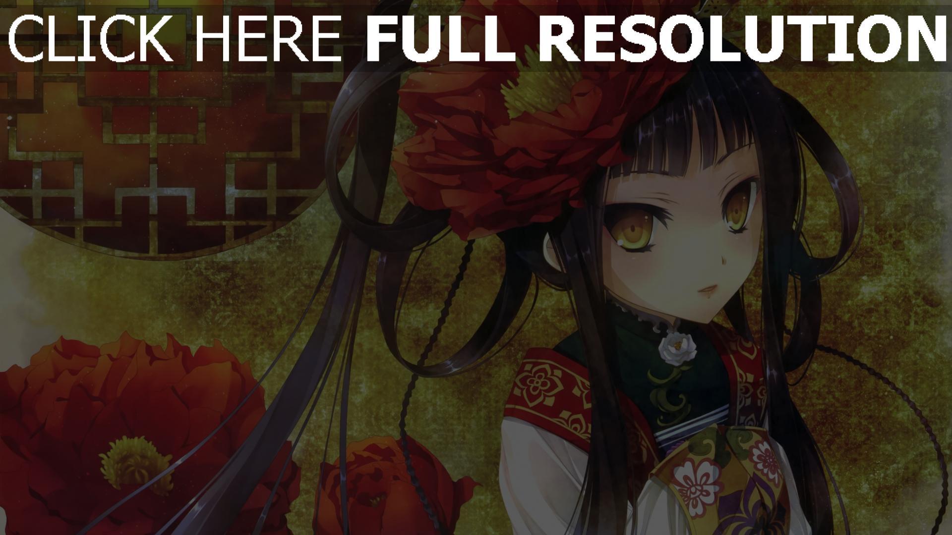 hd hintergrundbilder kimono mädchen blumen katagiri hinata 1920x1080