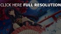 mädchen regenschirm nishimata aoi kimono chrysantheme
