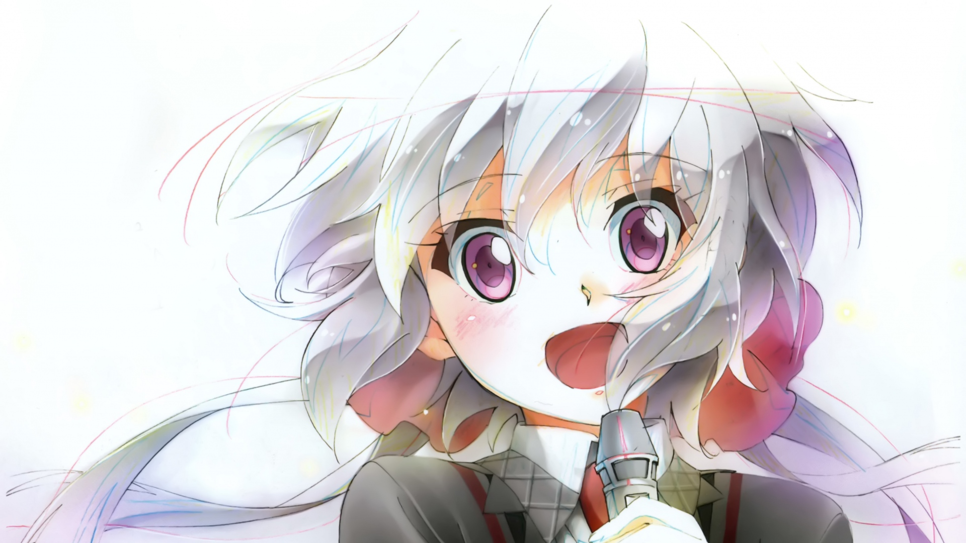 hd hintergrundbilder mädchen gesicht mikrofon senk zesshou symphogear chris yukine 1920x1080