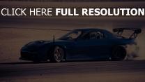 mazda rx 7 drift sport sportwagen blau geschwindigkeit