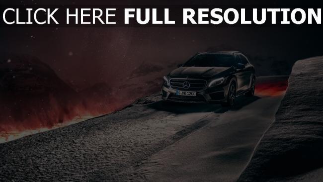 hd hintergrundbilder mercedes benz gla konzept crossover winter schnee berge nacht