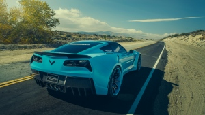 chevrolet corvette c7 stingray sportscar blau autobahn rückansicht