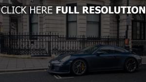 porsche 991 gt3 supercar blau stadt seitenansicht