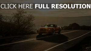 ford mustang 2015 orange landschaft sonnenuntergang vorderansicht