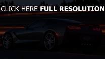 chevrolet corvette stingray c7 sportwagen schwarz abend