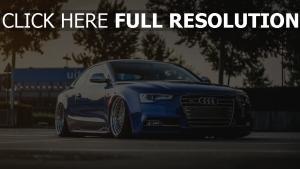 audi s5 coupé blau tuning stadt frontansicht