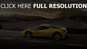 ferrari 458 italia supercar gelb straße seitenansicht
