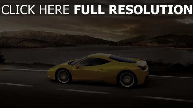 hd hintergrundbilder ferrari 458 italia supercar gelb straße seitenansicht