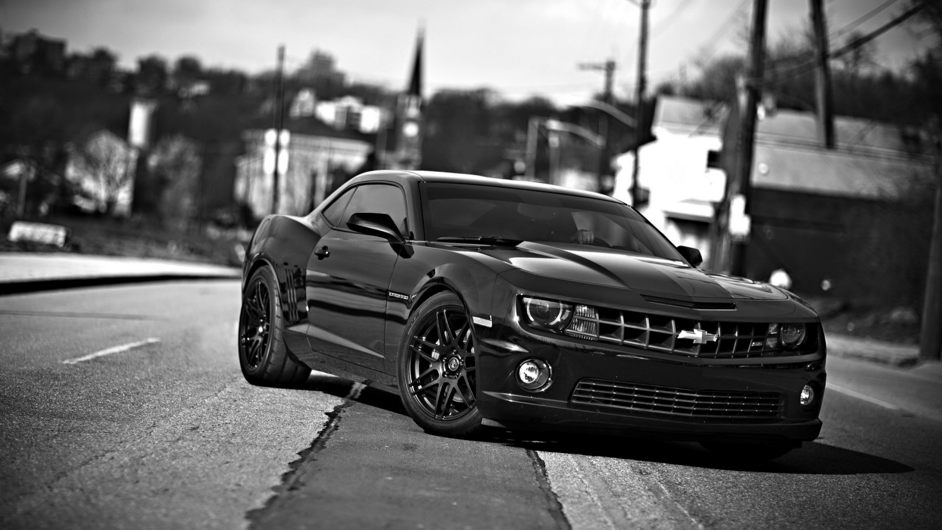 Hd Hintergrundbilder Black White Chevrolet Front View