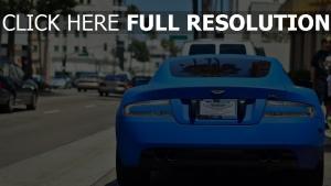 autos rückseite blau aston martin aussicht
