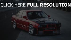 autos sport red bmw e34  seite aussicht