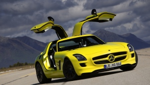 amg e-cell sls mercedes-benz gelb coupe