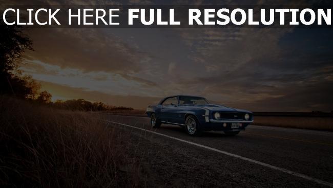 hd hintergrundbilder camaro blauchevrolet american ss classic 1969