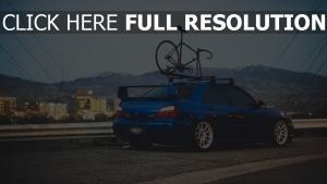 fahrrad blau subaru auto