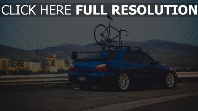 hd hintergrundbilder fahrrad blau subaru auto