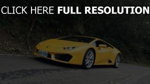 lamborghini gelb vorderansicht sportwagen
