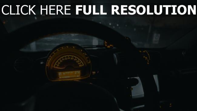 hd hintergrundbilder lenkrad auto tachometer nacht