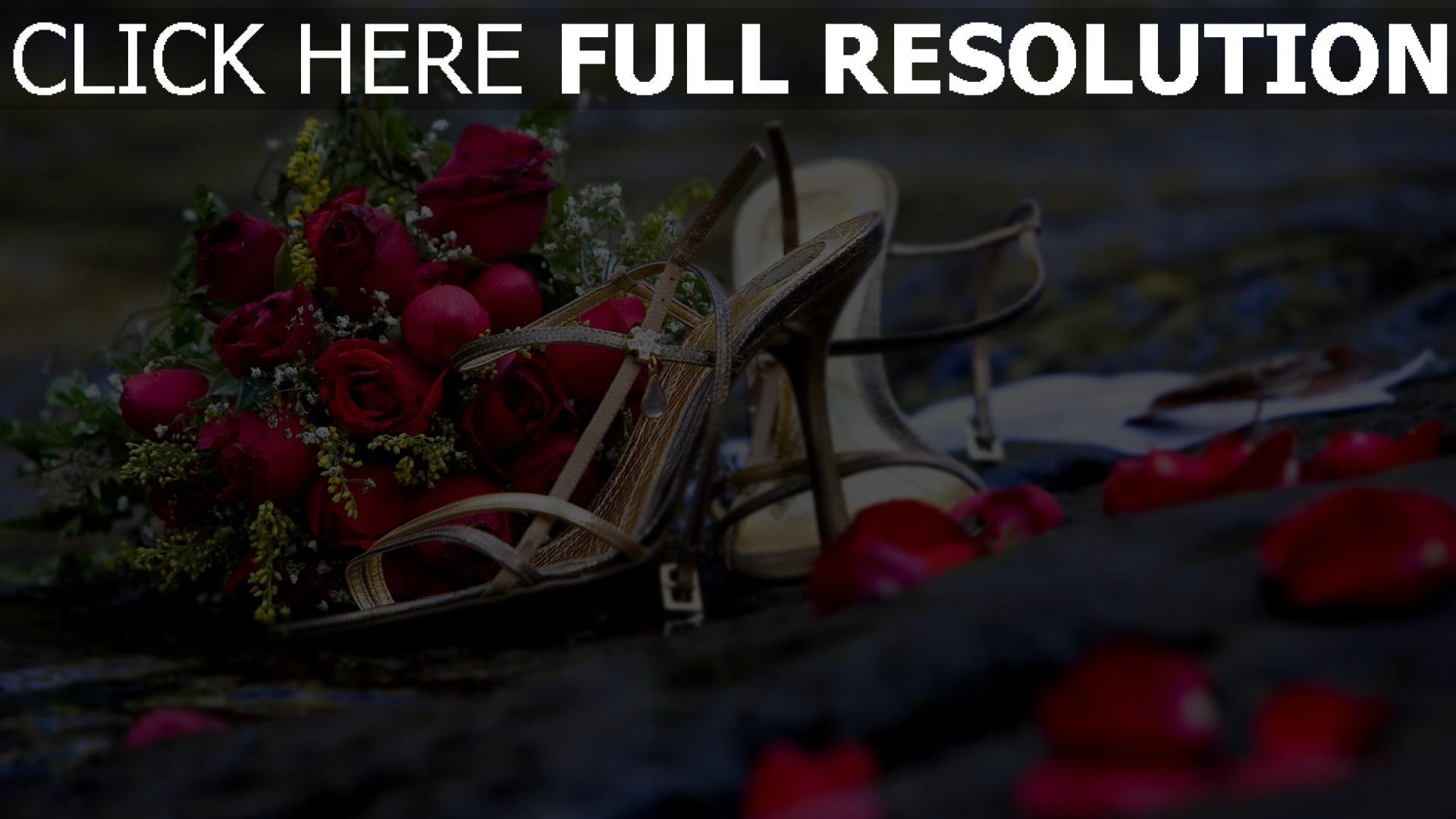 hd hintergrundbilder strauß rosen rot schuhe blütenblätter 1920x1080