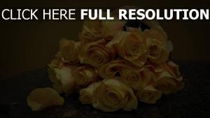 rosen gelb knospen blumenstrauß tisch
