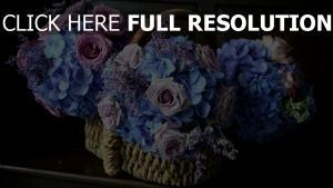 hortensien rosen kompositionen pflanzen körbe schöne