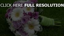 gerbera weiß rosa lila strauß