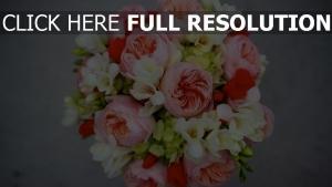 pfingstrose rose freesie strauß knospen