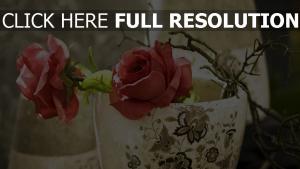 rosen rosa zweige topf vase