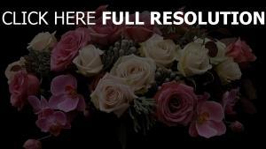 rosen orchideen strauß zusammensetzung rosa