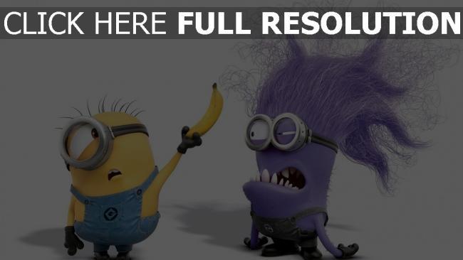 hd hintergrundbilder minions banane gut übel lila