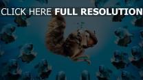ice age eichhörnchen walnuss wasser piranhas