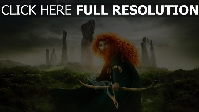 hd hintergrundbilder legende der highlands merida bogen feuer hügel