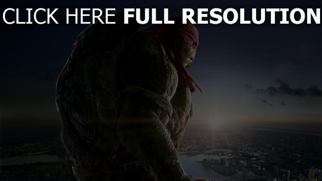 hd hintergrundbilder teenage mutant ninja turtles raphael stadt morgendämmerung