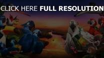 rio 2 papageien aras landschaft horizont vogelschwarm