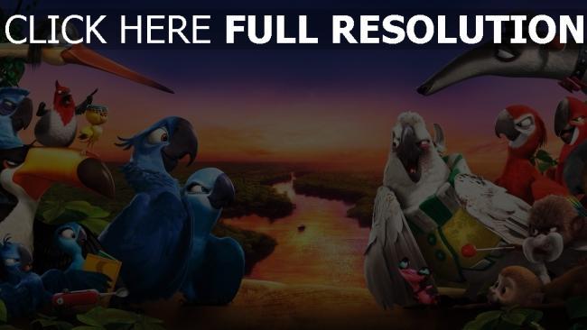 hd hintergrundbilder rio 2 papageien aras landschaft horizont vogelschwarm
